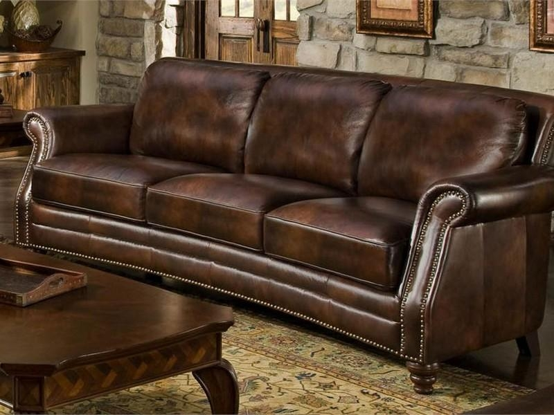 Lovely Nailhead Leather Sofa With Used Leather Couches Used Regarding Brown Leather Sofas With Nailhead Trim (Image 16 of 20)