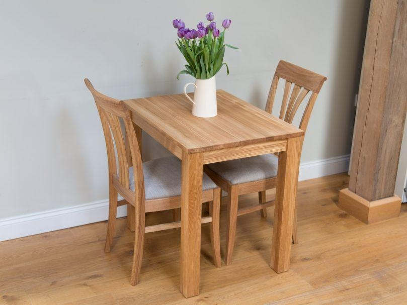 Lovely Small Oak Dining Table And 2 Chairs Round Kitchen For Two In Two Seater Dining Tables (Image 12 of 20)