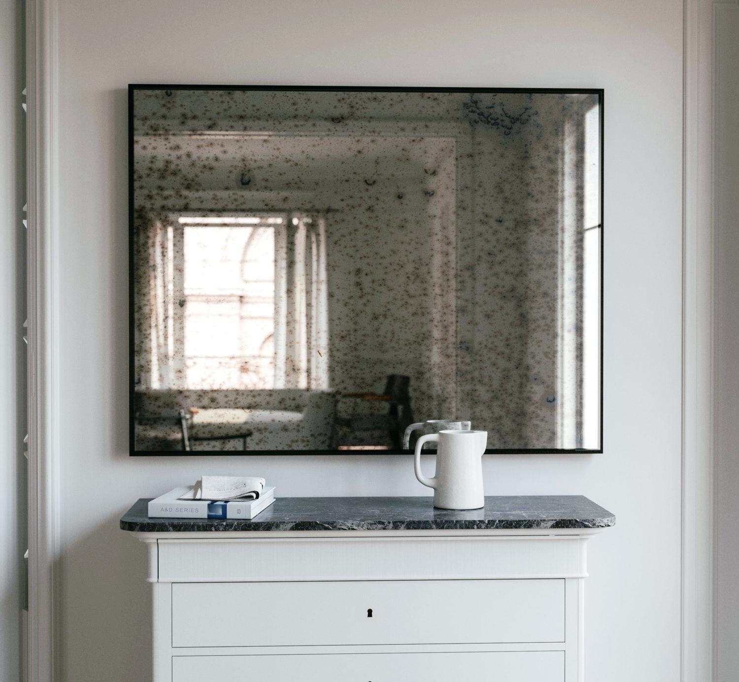 Lovely White Frame Mirrorlarge Glass Framed Wall Mirrors Large Pertaining To Distressed Framed Mirror (Image 14 of 20)