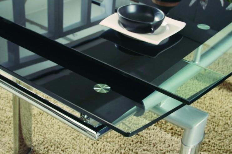 Luxor Black Glass Extendable Dining Table | Modenza Furniture Regarding Extending Glass Dining Tables And 8 Chairs (Image 17 of 20)