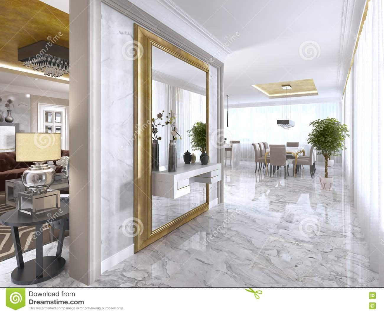 Luxurious Art Deco Entrance Hall With A Large Designer Mirror For Art Deco Large Mirror (View 10 of 20)