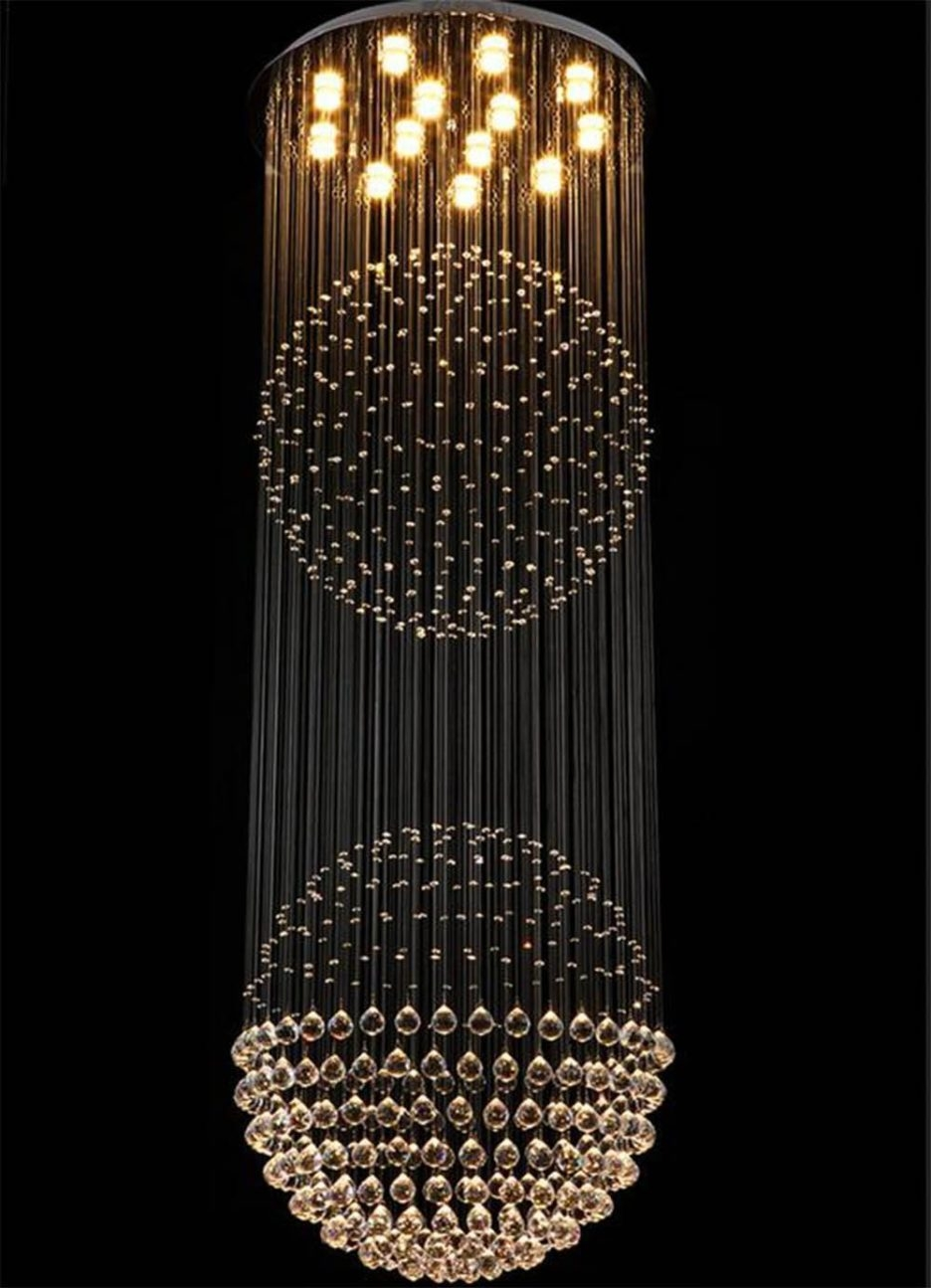 Luxurious Crystal Chandelier With Rain Drop And Two Large Globe Regarding Hallway Chandeliers (View 12 of 25)