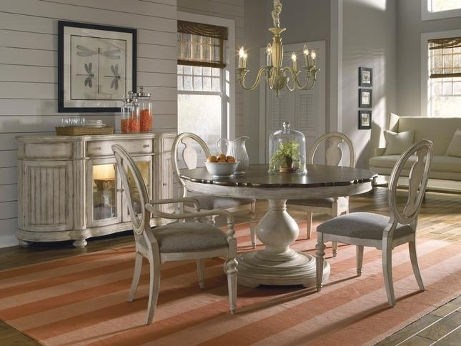 Luxury Coastal Whitewash Finish Round / Oval Dining Table & Chairs Set For Coastal Dining Tables (Image 18 of 20)