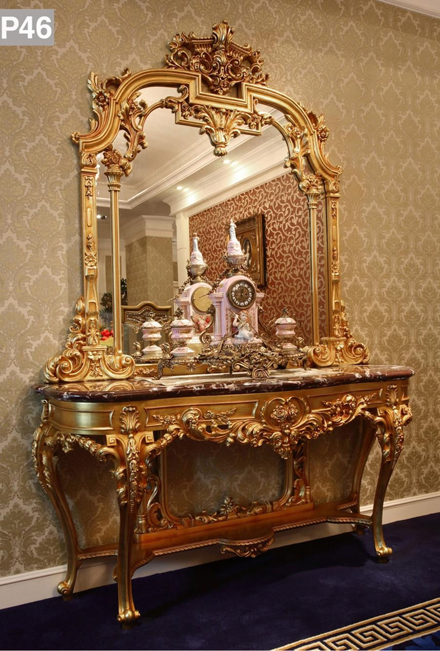 Luxury French Rococo Bedroom Furniture Dresser Table & Mirror Regarding French Rococo Mirror (Image 15 of 20)