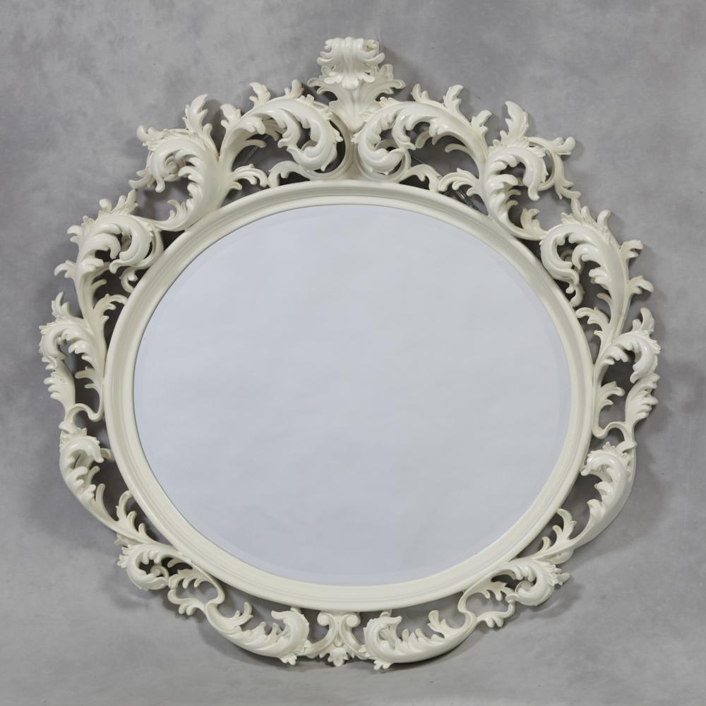 M94: Cream/antique White Oval Large Rococo Mirror – Sanding Throughout White Rococo Mirror (Image 12 of 20)