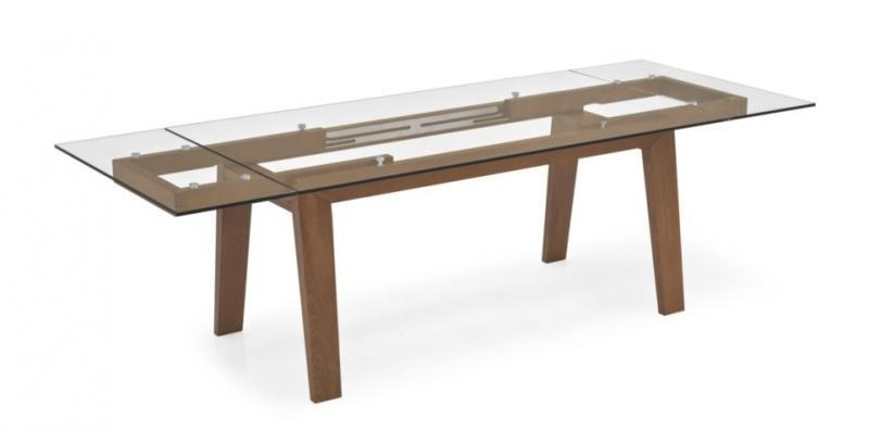 Maestro, Modern Glass Top Extending Dining Table, Wood Legs Regarding Glass Dining Tables With Wooden Legs (Image 13 of 20)