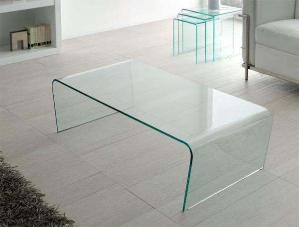 Magnificent Best All Glass Coffee Tables Throughout Contemporary Clear Bent One Piece Glass Coffee Table (Image 32 of 50)