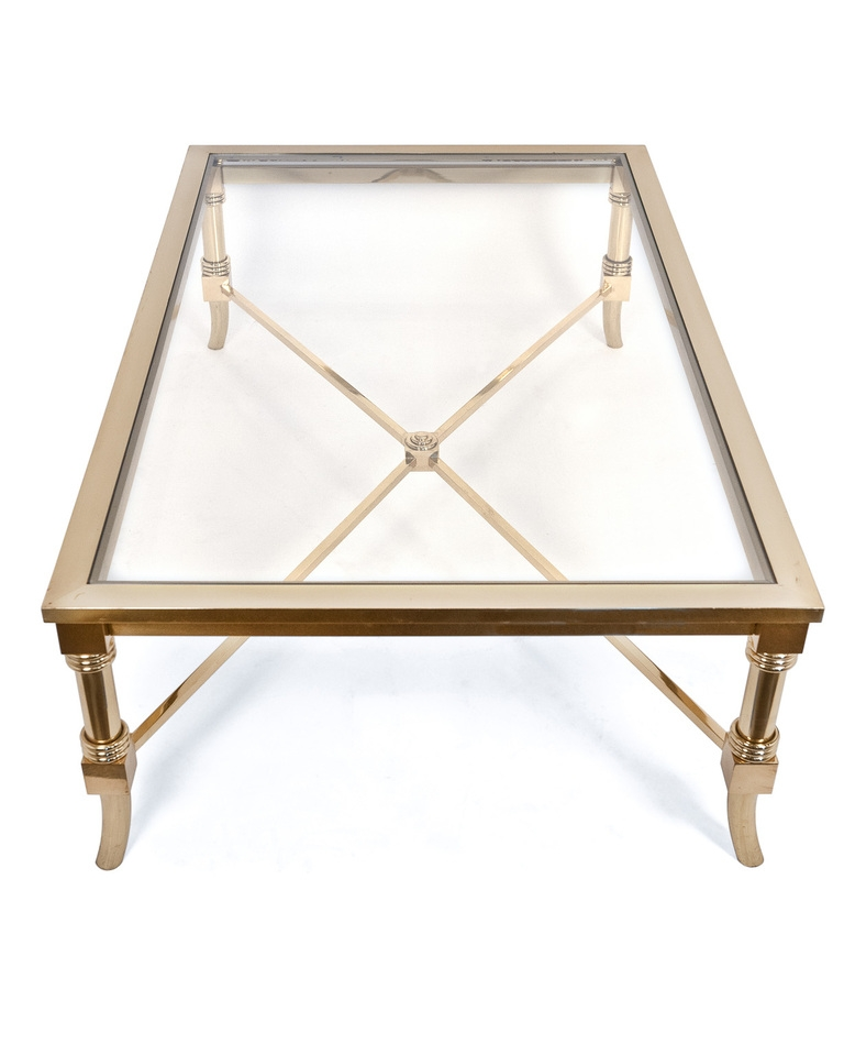 Magnificent Best Antique Brass Glass Coffee Tables Inside Fantastic Brass And Glass Coffee Table Maison Jansen Brass And (Image 34 of 50)