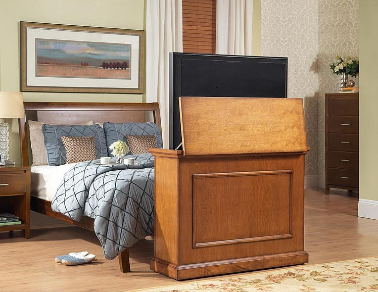 Magnificent Best Honey Oak TV Stands Throughout Elevate Honey Oak Finished Motorized Tv Lift Cabinet (View 20 of 50)