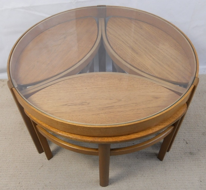 Magnificent Best Retro Teak Glass Coffee Tables Pertaining To Retro Light Teak Circular Glass Top Coffee Table Nest Of Tables (View 27 of 50)