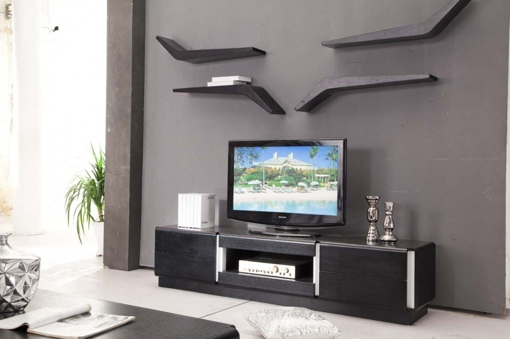 Magnificent Best Wall Mounted TV Stands With Shelves Regarding Wall Mounted Tv Cabinet Design Ideas Interior Black Wood Corner Tv (Image 42 of 50)