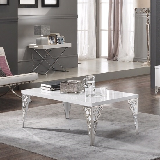 Magnificent Best White Gloss Coffee Tables Regarding Hazel Coffee Table Rectangular In White Gloss With Chrome (View 24 of 50)