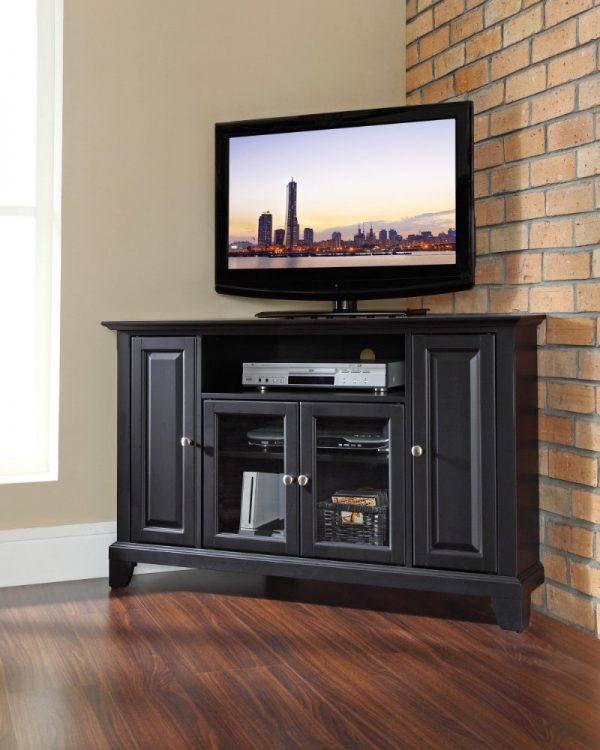 Magnificent Brand New Black Corner TV Cabinets With Glass Doors Throughout Fantastic Cherry Corner Tv Cabinet With Glass Cabinet Door Panels (Image 31 of 50)