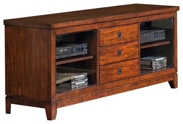 Magnificent Brand New Cherry Wood TV Stands Throughout Davenport Tv Stand W Glass Doors In Cherry Finish Transitional (Image 37 of 50)