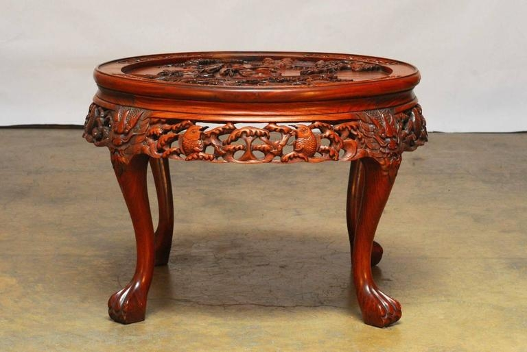 Magnificent Brand New Coffee Tables With Nesting Stools Within Round Chinese Carved Rosewood Tea Table With Nesting Stools For (Image 35 of 50)