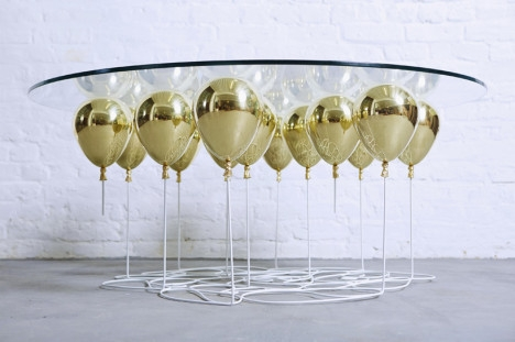 Magnificent Brand New Floating Glass Coffee Tables Within Whimsical Balloon Table Suspends Glass On Floating Orbs (Image 31 of 50)