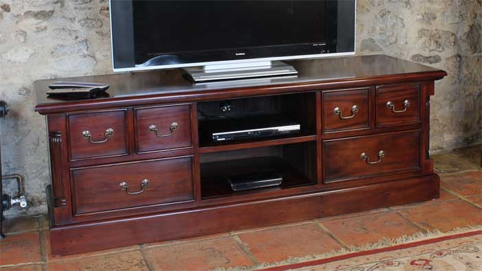 Magnificent Brand New Mahogany TV Cabinets For Featured Product La Roque Mahogany Widescreen Tv Cabinet Wfs Blog (View 6 of 50)
