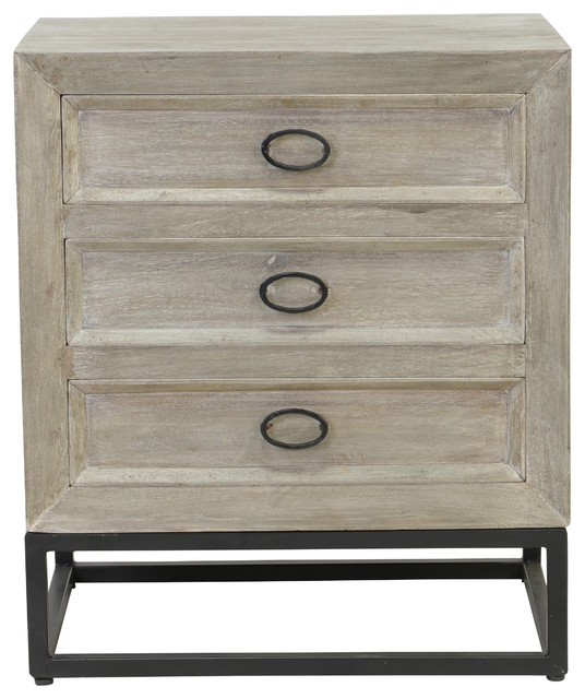 Magnificent Brand New Mango Wood TV Stands Regarding Kosas Home Albie Distressed Gray Mango Wood 3 Drawer Nightstand (Image 32 of 50)