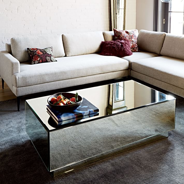 Magnificent Brand New Mirrored Coffee Tables With Geo Mirror Storage Coffee Table West Elm (Image 32 of 50)