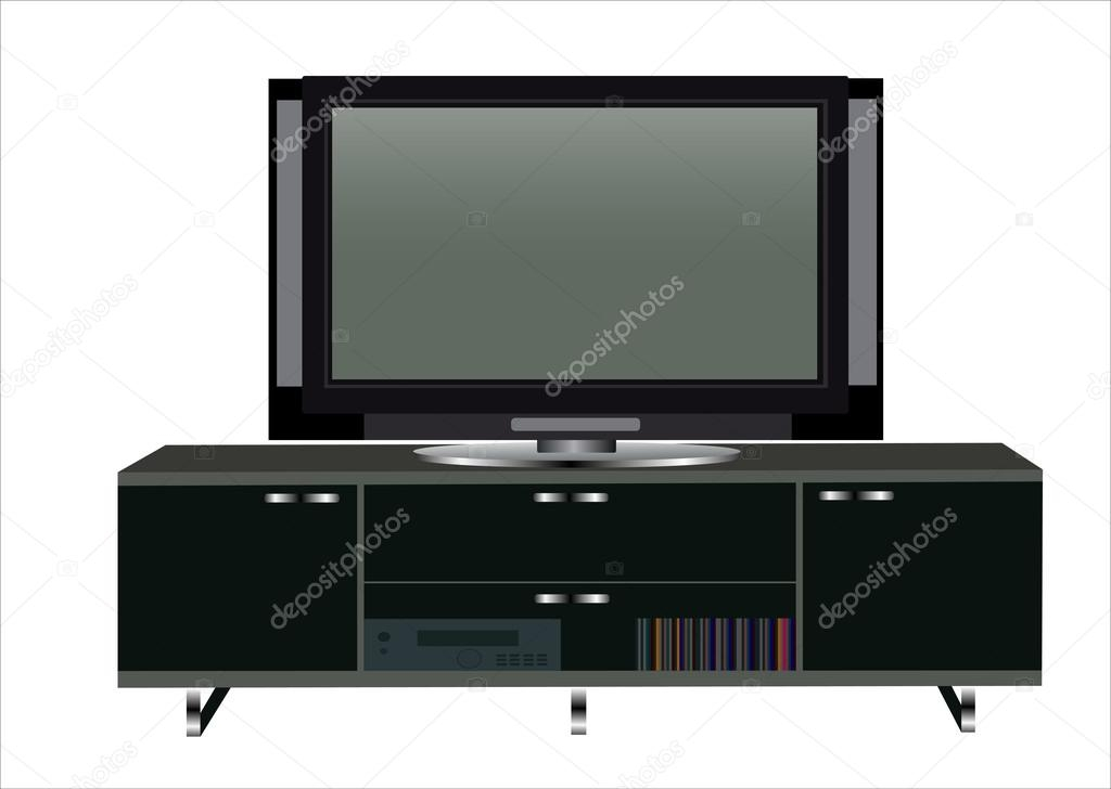 Magnificent Brand New Modern TV Cabinets For Flat Screens With Regard To Modern Tv Table Stand With Shelves Stock Vector Mitay20  (Image 33 of 50)