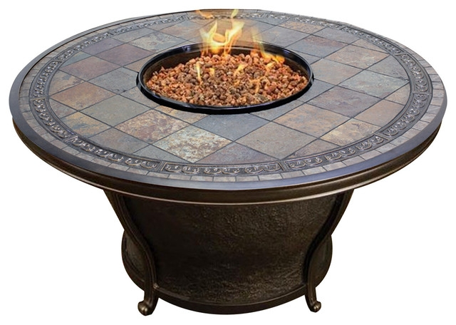 Magnificent Brand New Round Slate Top Coffee Tables Throughout Agio Tempe 48 Round Slate Top Gas Fire Pit Table Mediterranean (Image 30 of 40)