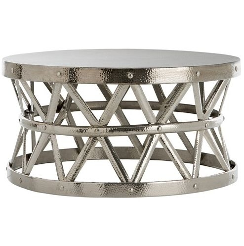 Magnificent Brand New Silver Drum Coffee Tables In Pay 4 Less Overstock Hammered Drum Cross Silver Coffee Table (Image 32 of 50)