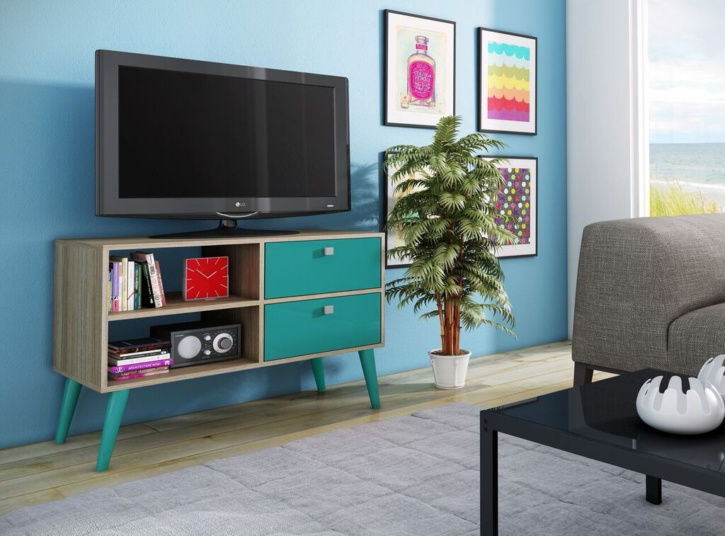 Magnificent Brand New TV Stands In Oak Intended For Dalarna Tv Stand Oak And Aqua Manhattan Comfort Modern Manhattan (View 45 of 50)