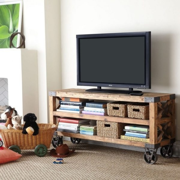 Magnificent Brand New TV Stands With Storage Baskets Within Brown Wicker Storage Baskets Below Rectangle Shape Brown Wooden Tv (View 48 of 50)
