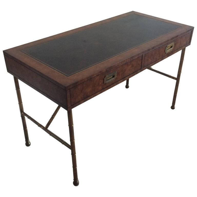 Magnificent Common Campaign Coffee Tables Inside Mastercraft Brass Vintage Burl Wood Faux Bamboo Desk Campaign (Image 33 of 50)