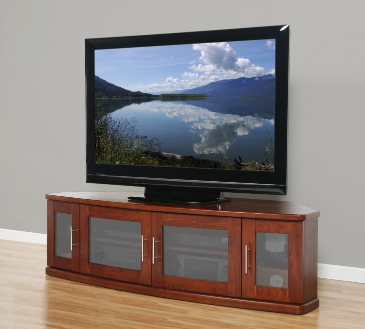 Magnificent Common Cherry Wood TV Cabinets Regarding Long Brown Wooden Tv Stand With Four Storage Having Frosted Glass (View 19 of 50)