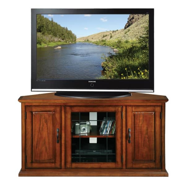 Magnificent Common Corner TV Stands For 50 Inch TV Intended For Burnished Oak 50 Inch Tv Stand And Media Corner Console Free (Image 33 of 50)