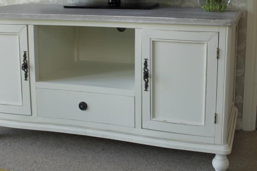 Magnificent Common French Style TV Cabinets Regarding Cream Cottage Wooden Tv Unit Stand Solid Cupboard Television T V (Image 33 of 50)