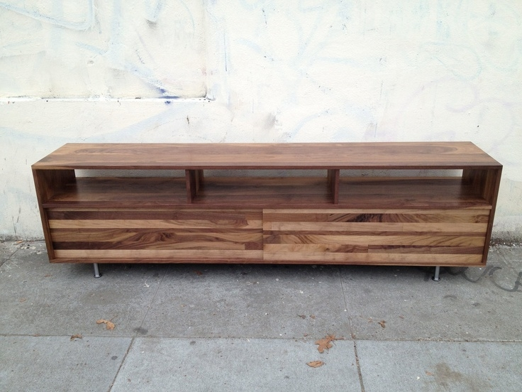 Magnificent Common Long Low TV Stands Intended For Long Low Mixed Walnut Media Console 48 To 60 Inch  (Image 30 of 50)