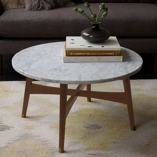 Magnificent Common Marble Coffee Tables Pertaining To Reeve Mid Century Coffee Table Marble West Elm (View 26 of 50)