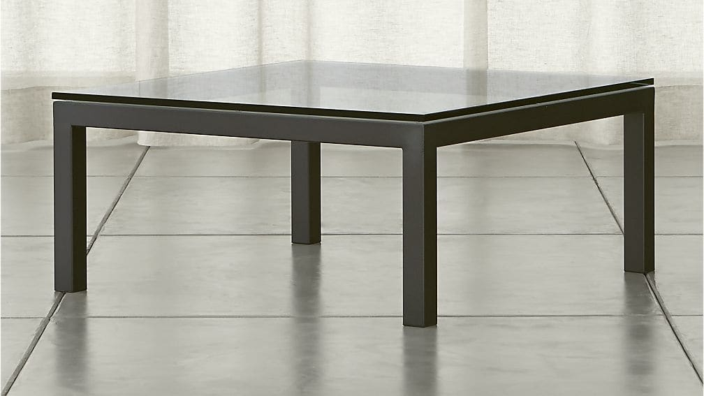 Magnificent Common Metal Square Coffee Tables Inside Parsons Clear Glass Top Dark Steel Base 36×36 Square Coffee Table (Image 29 of 40)