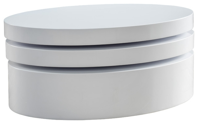 Magnificent Common Oval White Coffee Tables Intended For Kendall Oval Mod Swivel Coffee Table Modern Coffee Tables (View 23 of 50)
