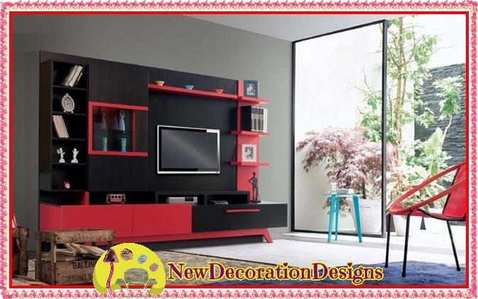 Magnificent Common Red TV Cabinets Regarding Red Black Tv Wall Unit Designs And Fresh Tv Unit Colors New (Image 34 of 50)