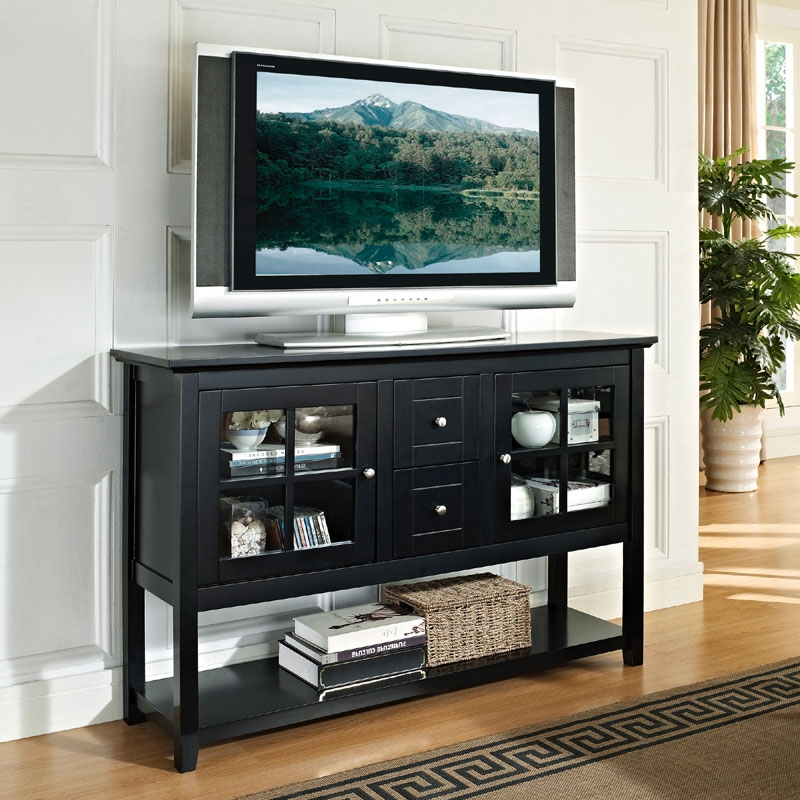 Magnificent Common Solid Wood Black TV Stands Regarding Walker Edison Wood And Glass Highboy Style 55 Inch Tv Cabinet (Image 43 of 50)