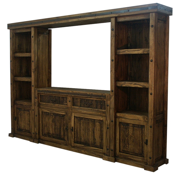 Magnificent Deluxe Dark Wood TV Cabinets Regarding Rustic Finca Western Tv Wall Unit Tv Stand Entertainment Center (Image 34 of 50)
