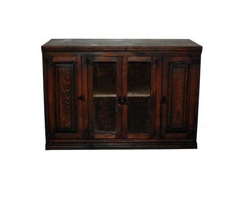 Magnificent Deluxe Dark Wood TV Stands In Dark 45034 Tv Stand With Glass Door Real Wood Rustic Western (View 4 of 50)