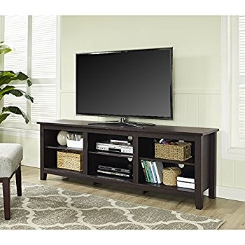 Magnificent Deluxe Expresso TV Stands Pertaining To Amazon We Furniture 58 Wood Tv Stand Storage Console (View 4 of 50)