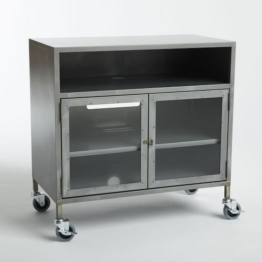 Magnificent Deluxe Industrial Metal TV Cabinets Inside Metal Industrial Tv Cart West Elm (Image 36 of 50)