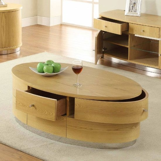 Magnificent Deluxe Light Oak Coffee Tables With Drawers With Regard To Get Hands On This Oval Shaped Beautiful Coffee Table That Offers (View 2 of 40)
