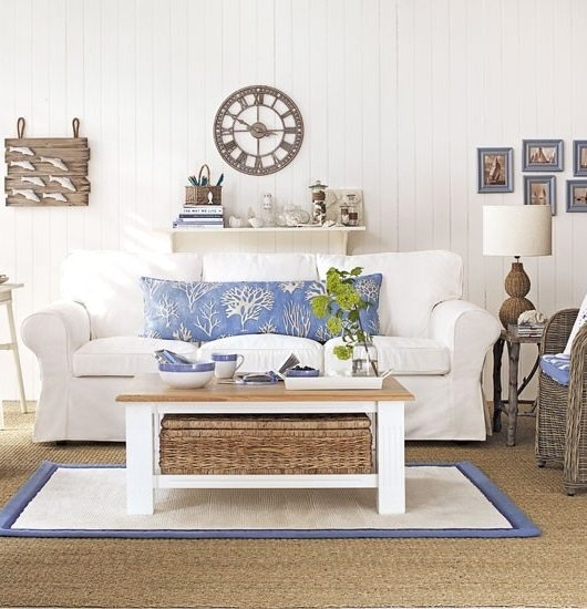 Magnificent Deluxe White Cottage Style Coffee Tables Regarding Coastal Wicker Baskets Decorative Storage Ideas For A Beach House (View 39 of 50)