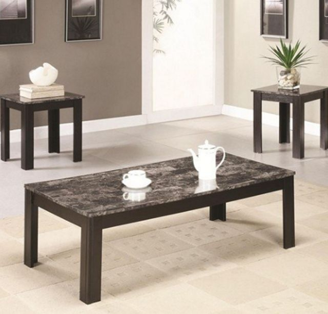 Magnificent Elite Grey Coffee Table Sets Intended For 3 Pc Grey Faux Marble Coffee And End Table Set Coaster (Image 38 of 50)