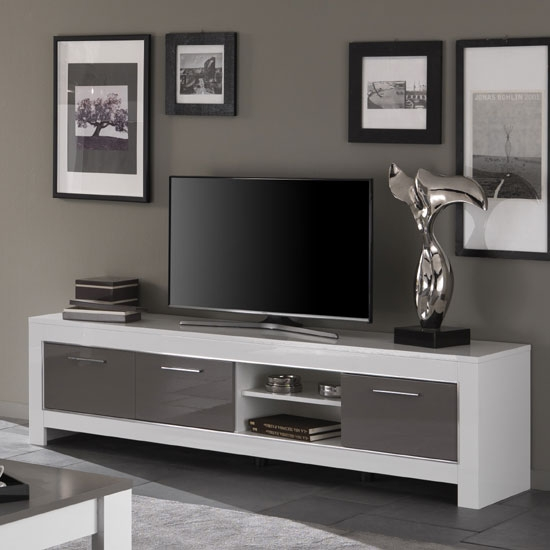 Magnificent Elite Grey TV Stands Regarding Lorenz Large Tv Stand In White And Grey High Gloss  (Image 38 of 50)