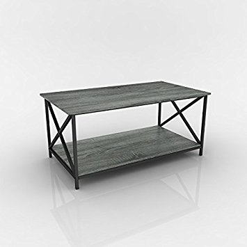 Magnificent Elite Oak Coffee Table With Shelf Throughout Amazon Weathered Grey Oak Finish Metal X Design Wooden (View 24 of 50)