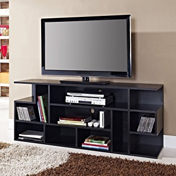 Magnificent Elite Wooden TV Stands With Doors Intended For Amazon We Furniture 60 Black Wood Tv Stand Console Kitchen (Image 29 of 50)