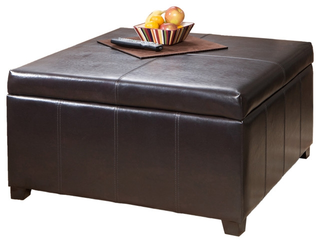 Magnificent Famous Brown Leather Ottoman Coffee Tables With Storages Throughout Berkeley Espresso Leather Storage Ottoman Coffee Table (Image 24 of 40)