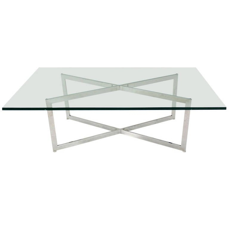 Magnificent Famous Chrome And Glass Coffee Tables With Mid Century Modern Stainless Chrome X Base Coffee Table With Glass (View 30 of 50)